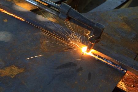 아세틸렌 토치, 산업 배경 절단 금속 스톡 콘텐츠 - 23545512