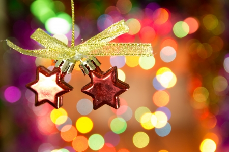 beautify: Christmas star decoration against lights blurred background