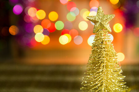 bl: Christmas tree decoration against lights blurred background Stock Photo