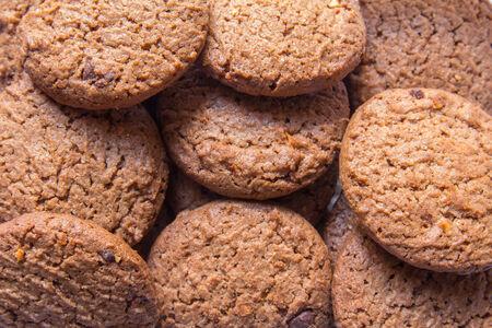 cikolatali: Many chocolate chip cookies pattern Stock Photo
