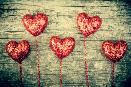 heart shaped stuff: Heart vintage style on wood  Stock Photo
