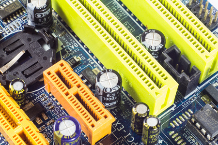 Computer mainboard detail memory socket, Technology background