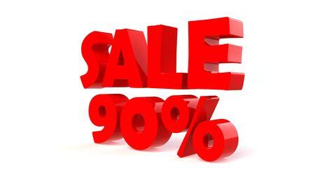 Advertising 90% sale discount sign. 3d render illustration. illustration