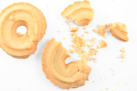 cikolatali: Crumbs of Classic Vanilla Cookies isolated on white background. Stock Photo