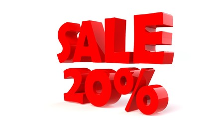 Advertising 20% sale discount sign. 3d render illustration. illustration