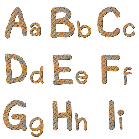 checker plate: Font rusty checker plate steel texturegroup of alphabet  with shadow