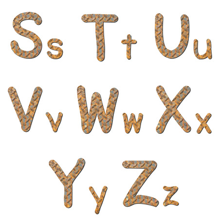 Font rusty checker plate steel texturegroup of alphabet  with shadow photo