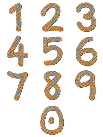 Font rusty checker plate steel texture group of numeric with shadow photo