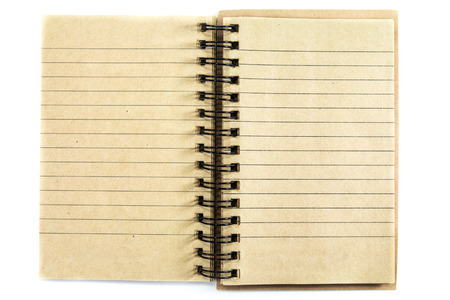 Blank open notebook with lined recycle papers on white background photo