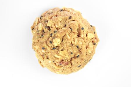 cikolatali: whole grain cookies isolated on white background.