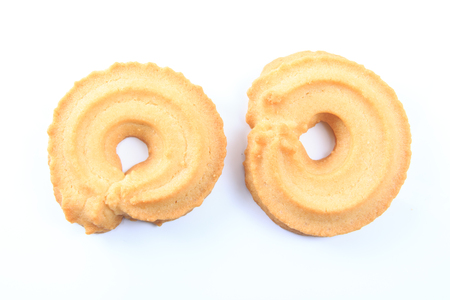 cikolatali: Classic Vanilla Cookies isolated on white background.