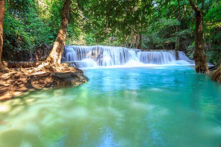 Waterfalls In Deep Forest at Huai Mae Khamin Waterfall in National Park Kanchanaburi Thailand photo
