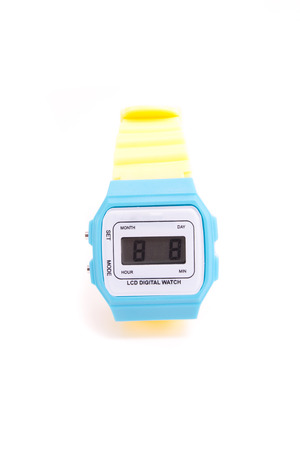 dialplate: colourful Wristwatch isolated on a white background Stock Photo