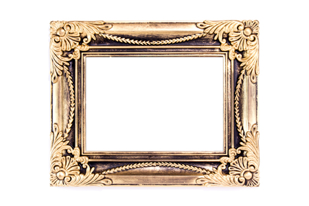 Antiques wooden frame isolated on white background photo