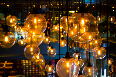 Gold lighting decoration, holiday background Stock Photo