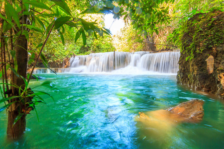 Waterfalls In Deep Forest at Huai Mae Khamin Waterfall in National Park Kanchanaburi Thailand