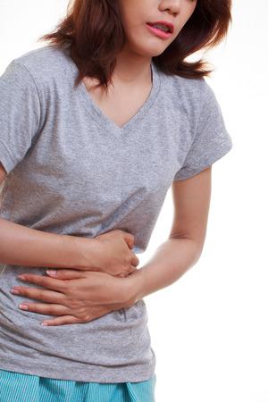 허리 주위에 두 손바닥을 가진 여자는 복부 영역과 복통에 통증과 부상을 표시합니다. 의료 서비스 개념입니다. 스톡 콘텐츠 - 38482840