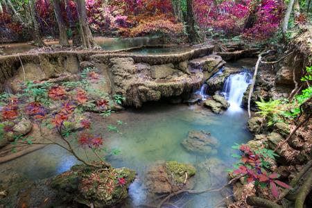 cataract waterfall: Waterfalls In Deep Forest at Huai Mae Khamin Waterfall in National Park Kanchanaburi Thailand