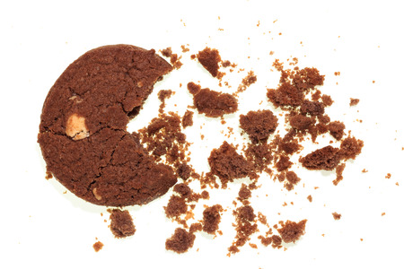 cikolatali: Chocolate chip cookies isolated on white background. Stock Photo