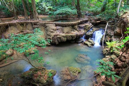 khamin: Waterfalls In Deep Forest at Huai Mae Khamin Waterfall in National Park Kanchanaburi Thailand