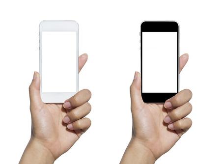 손 들고 터치 스크린 휴대 전화입니다. 흰색으로 격리. 스톡 콘텐츠 - 44275532