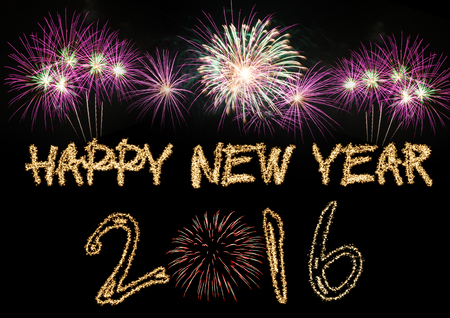 happy new year: Happy New Year 2016 sparklers firework Stock Photo