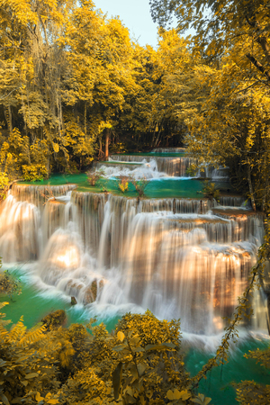 forest conservation: Waterfalls In Deep Forest at Huai Mae Khamin Waterfall in National Park Kanchanaburi Thailand