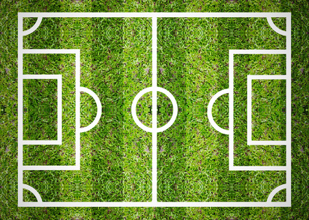 Green soccer or football field top view Stock Photo