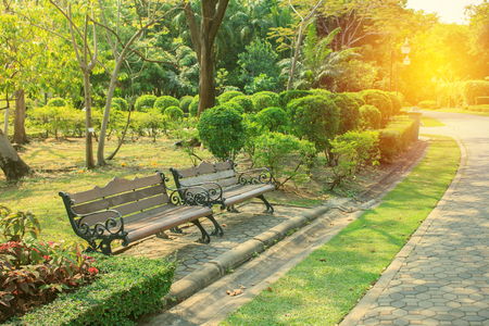 Bench in beautiful city park for relex on vacation