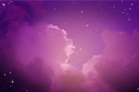 Fantastic and Beautiful night sky with many stars and cloud.