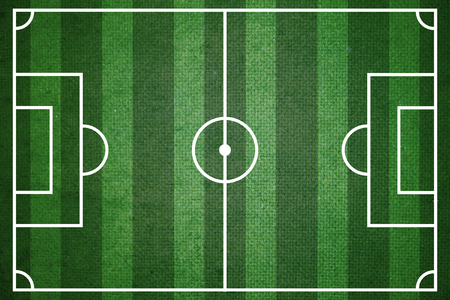 photo realism: Green soccer or football field top view Stock Photo