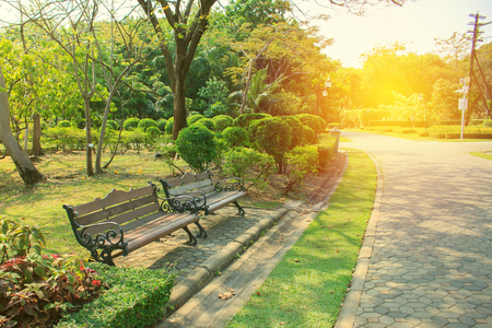 Bench in beautiful city park for relax on vacation Stock Photo