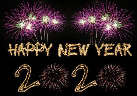 Feliz año nuevo 2020 fuegos artificiales de bengalas