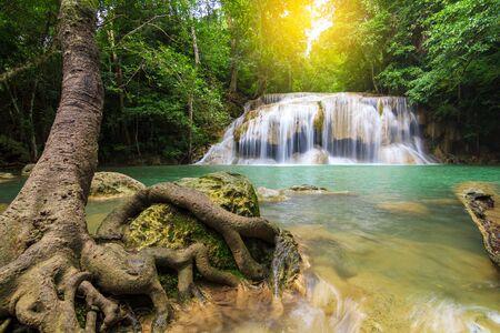Waterfalls In Deep Forest at Erawan Waterfall in National Park Kanchanaburi Thailand