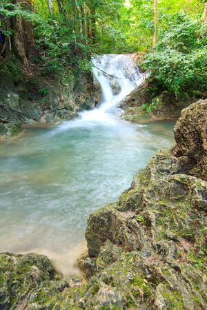 Waterfalls In Deep Forest at Erawan Waterfall in National Park Kanchanaburi Thailand
