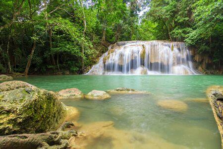Waterfalls In Deep Forest at Erawan Waterfall in National Park Kanchanaburi Thailand 스톡 콘텐츠 - 137408430