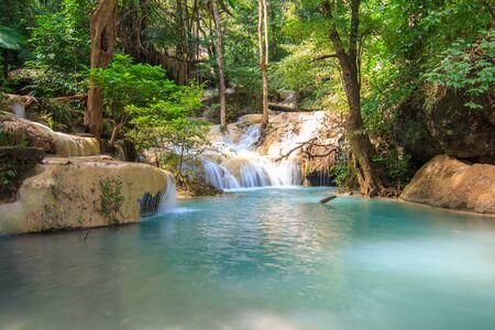 Waterfalls In Deep Forest at Erawan Waterfall in National Park Kanchanaburi Thailand 스톡 콘텐츠 - 137408432