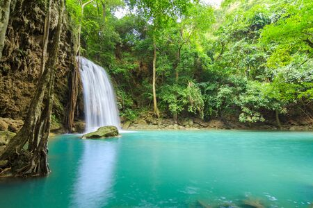 Waterfalls In Deep Forest at Erawan Waterfall in National Park Kanchanaburi Thailand 스톡 콘텐츠 - 137408433