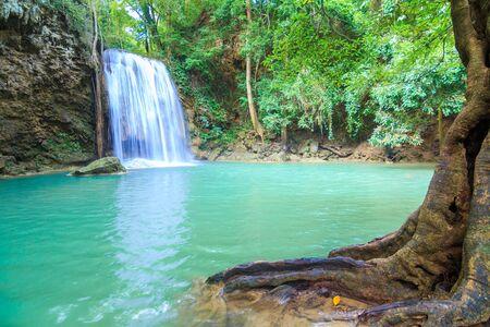 Waterfalls In Deep Forest at Erawan Waterfall in National Park Kanchanaburi Thailand 스톡 콘텐츠 - 137408434