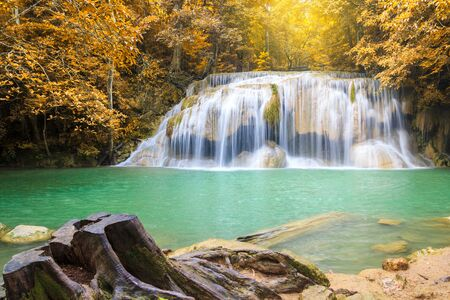 Waterfalls In Deep Forest at Erawan Waterfall in National Park Kanchanaburi Thailand 스톡 콘텐츠 - 137408435