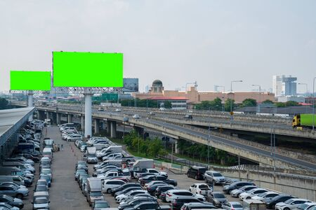 billboard blank Green screen for outdoor advertising poster or blank billboard at noon time for advertisement