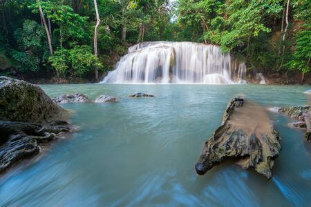 Waterfalls In Deep Forest at Erawan Waterfall in Thailand 스톡 콘텐츠