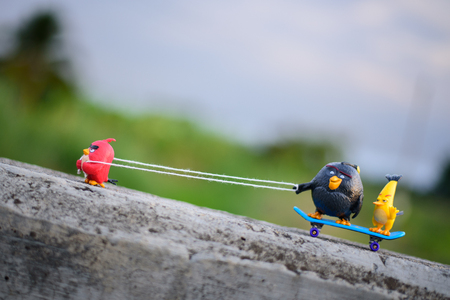 pull toy: Chiang Mai, Thailand – June 13 , 2016: Red Angry bird Pull his friends up the hill with a rope attached to skateboard with anger. Editorial