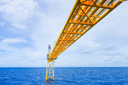 Flare bridge from gas production platform in offshore in under view.