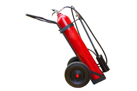 suppression: Handwheel of  fire extinguisher isolate on white background with clipping path