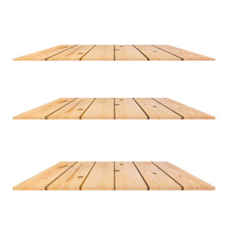 3 pine trees Wood Shelves Table isolated on white background with different perspective for decorative your product.