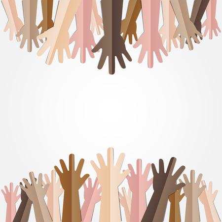 많은 사람들의 다른 피부 색조와 함께 손 올려서 일러스트 레이터에 의한 민주주의, 자원 봉사 또는 인종 개념 디자인의 개념 일러스트