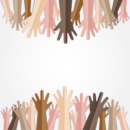 against: Raised hands up together with different skin tone of many peoples concept of democrazy, volunteer, or racial concept design by vector illustrator Illustration