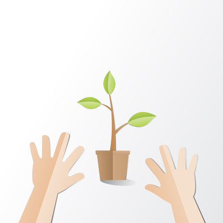 Hands try to holding young plant with Happy Earth Day text, paper cut style Ecology and Earth day concept Illustration