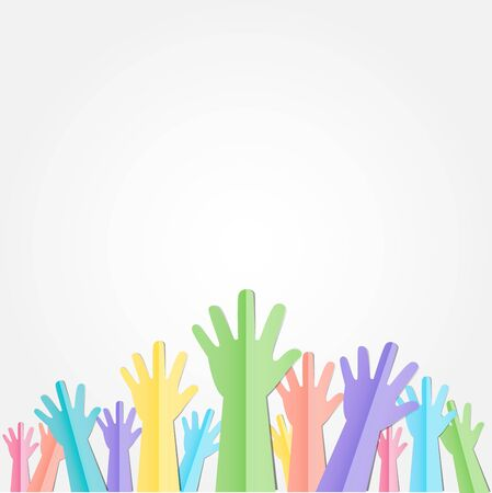 crowd happy people: Colorful Raised hands up with text for volunteering or follow your dreams vector concept paper cut style. Illustration